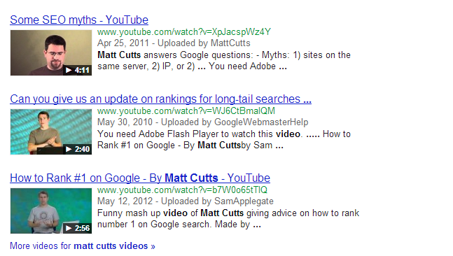Google's Matt Cutts on video
