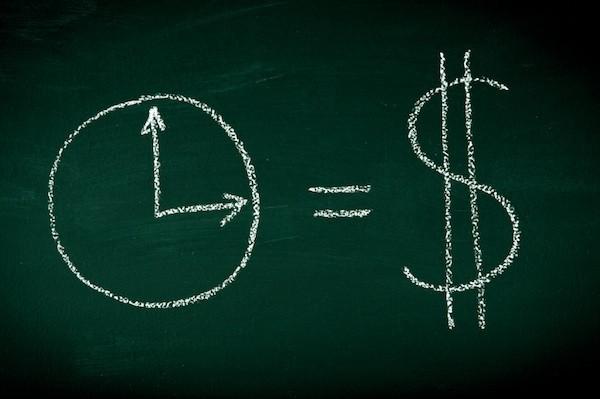 Time is money drown on chalkboard