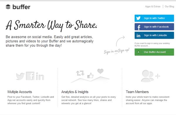 Buffer social media sharing tool