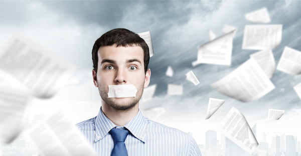 Agency production mark-ups - man with taped mouth
