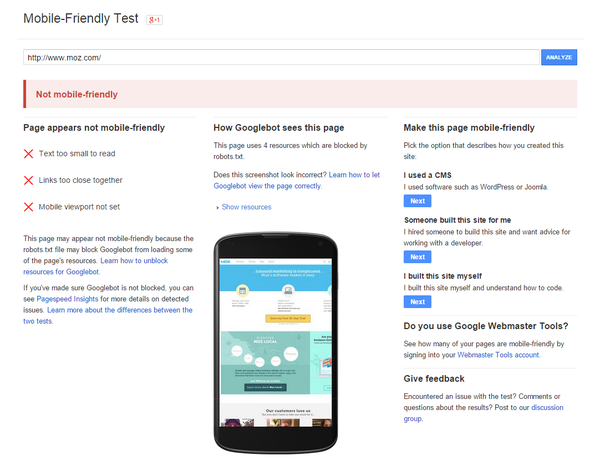 Moz mobile friendly test