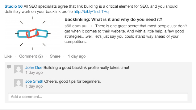 A link update on LinkedIn with customized description and title