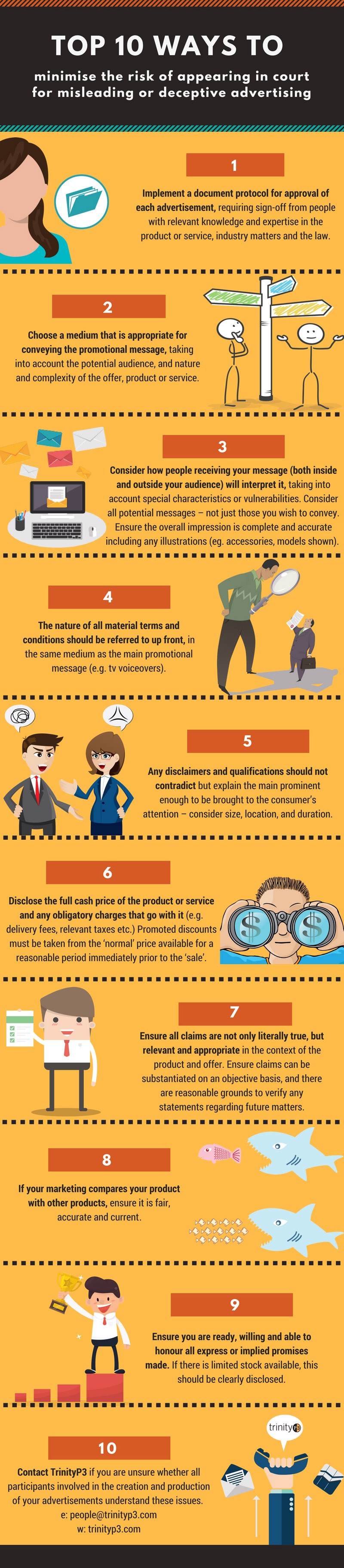 Top 10 ways to minimise the risk of appearing in court for misleading or deceptive advertising
