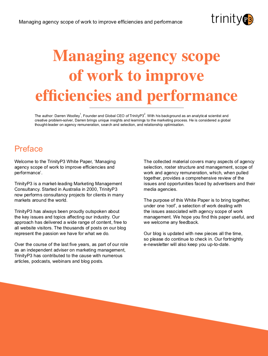 managing agency scope of work to improve efficiencies and