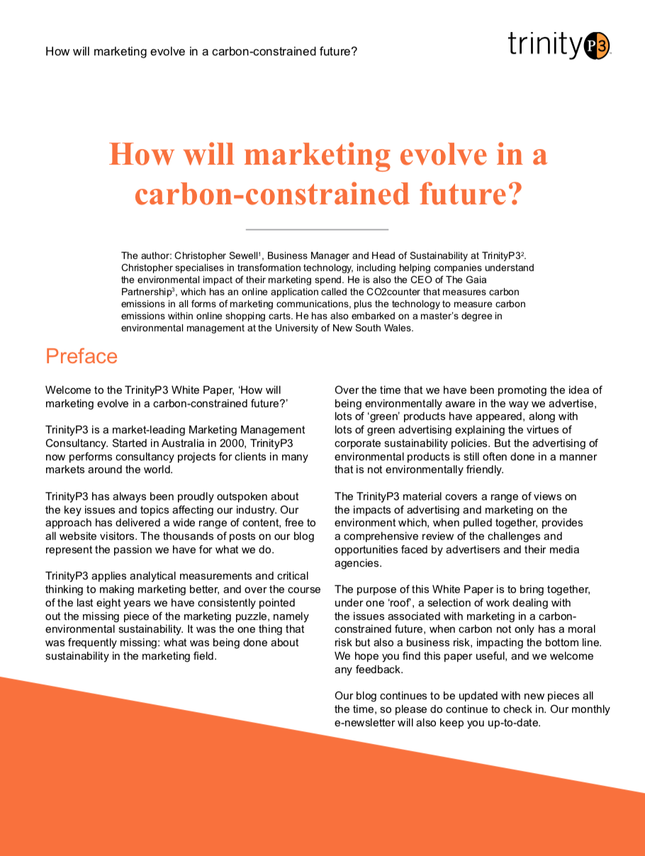 How will marketing evolve in a carbon-constrained future?